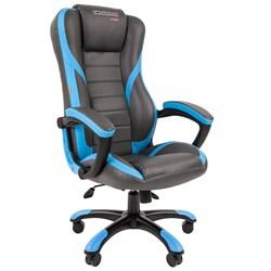 Кресло компьютерное Chairman game 22 черный, синий - фото 17335